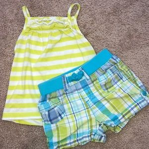 Plaid & Striped Girls Tank and Shorts Outfit 12 m